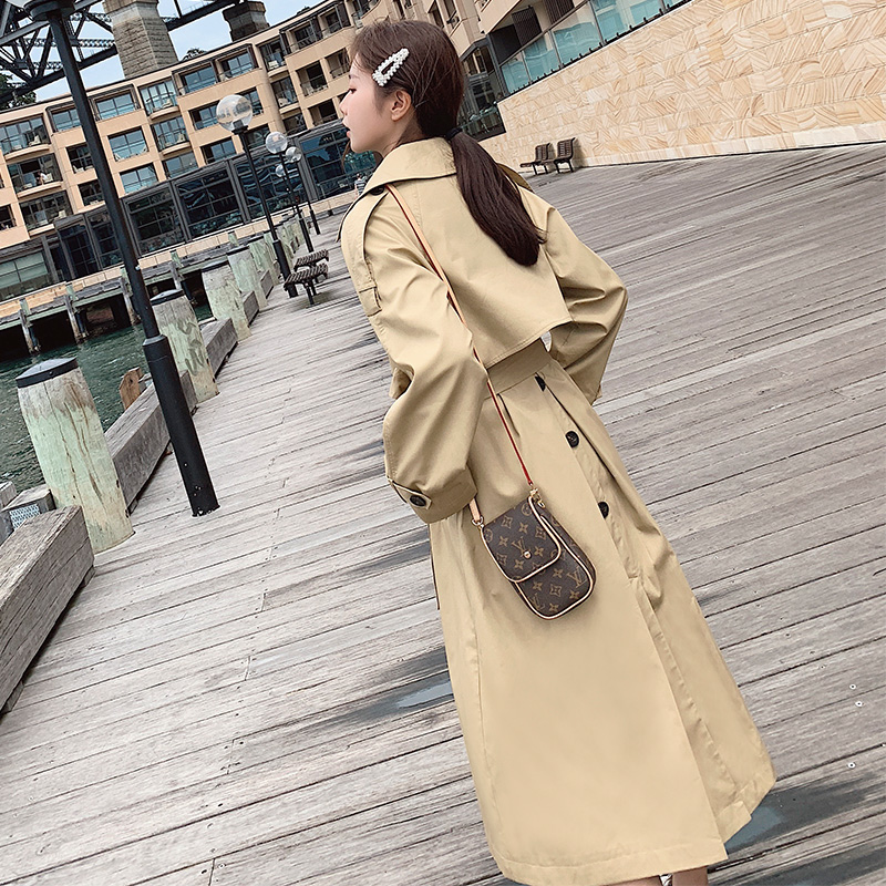 2019 Fall Winter Coat Women's Long New Korean Leisure Long   Trench   Coats Classic Double Breasted Sashes Loose Windbreaker
