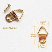 100 шт. Мини Золотой Треугольники d-образным кольцом картина маслом зеркало крючок фоторамки вешалка 10x20 мм с винтами мебельная фурнитура