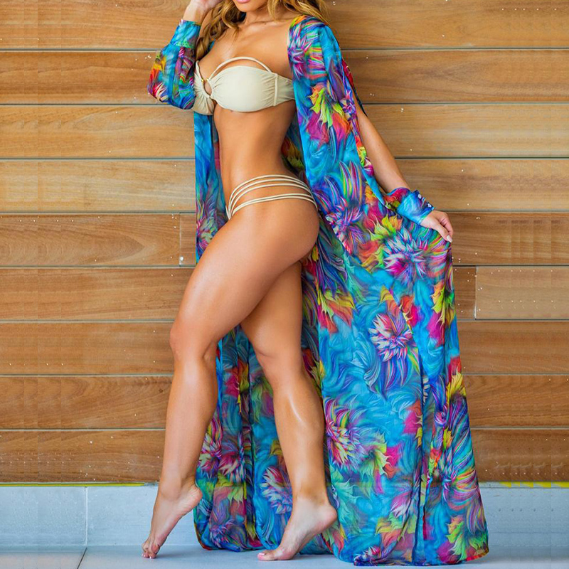 Print Cover-Ups Plus Size Beach Cover-Up Wrap Dress Swimsuit Bikini Bathing Suit Robe Plage Beach Wear