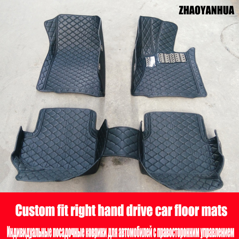 ZHAOYANHUA Right hand drive car car floor mats for Jeep Cherokee Wrangler Commander Compass Patriot 6D car-styling heavyduty ca hellboy giant right hand anung un rama right hand of doom arms hellboy animated cosplay weapon resin collectible model toy w257