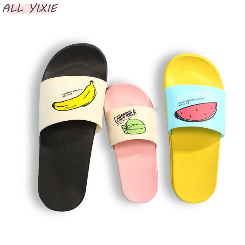 ALL YIXIE 2019 Women Slippers Fashion Summer lovely Ladies Casual Slip On Fruit jelly Beach Flip Flops Slides Woman Indoor Shoes(China)