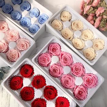 Preserved Rose Flowers Immortal 4-5CM Diameter Mothers Day DIY Wedding Eternal Life Flower Material Gift  8pcs/Box Level B