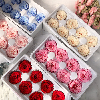 Preserved Rose Flowers Immortal Rose 4-5CM Diameter Mothers Day DIY Wedding Eternal Life Flower Material Gift 8pcs/Box Level B