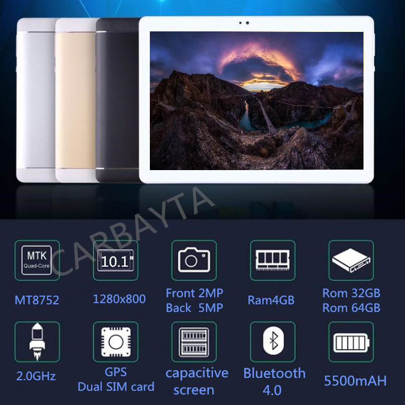CARBAYTA 10.1 inch Octa Core Android 7.0 Tablet PC 4GB Memory 32GB 64GB Tablet Dual SIM Dual Standby WIFI Bluetooth Phone Tablet carbayta 10 1 android 8 0 octa core p80 tablet pc 4gb memory 32gb 64gb dual camera dual card tablet wifi google bluetooth tablet