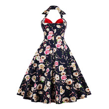 Sisjuly summer vintage dress retro patchwork floral print bowknot backless party dresses halter sleeveless women vintage dresses