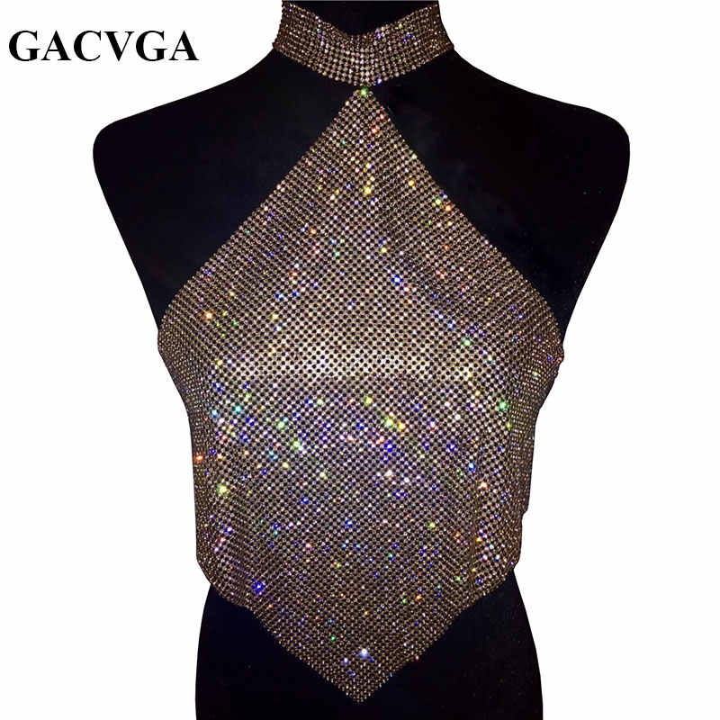 21855be8344a8 GACVGA 2019 Shinning Crystal Diamond Crop Top Summer Beach Backless T Shirt  Halter Sexy Tops Party