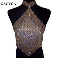 GACVGA 2017 Shinning Crystal Diamond Crop Top Summer Beach Backless T Shirt Halter Sexy Tops Party