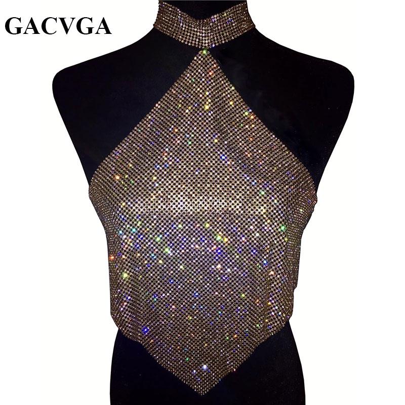 GACVGA 2017 Shinning Crystal Diamond Crop Top Summer Beach Backless T Shirt Halter Sexy Tops Party