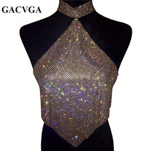 GACVGA 2017 Shinning Crystal Diamond Crop Top Summer Beach Backless T Shirt Halter Sexy Tops Party Camis Women Tank Top Blusa