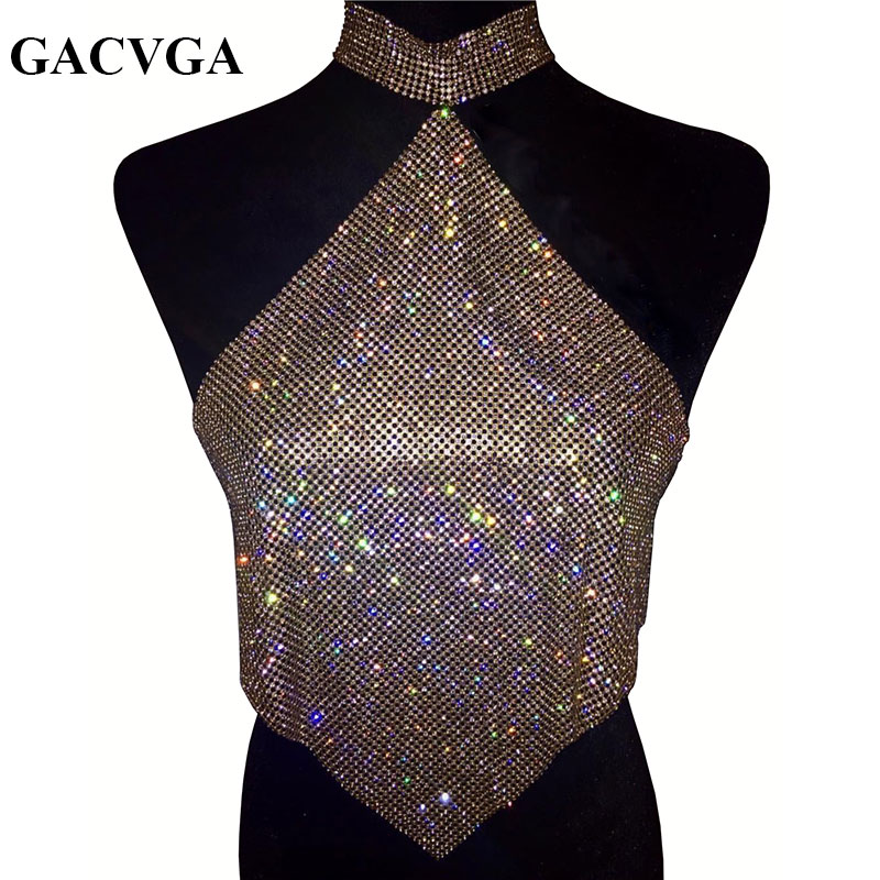 GACVGA 2019 Shinning Crystal Diamond Crop Top Summer Beach Backless T Shirt Halter Sexy Tops Parti Camis Wanita Tank Top Blusa