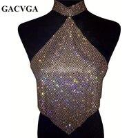 GACVGA 2019 Shinning Crystal Diamond Crop Top Summer Beach Backless T Shirt Halter Sexy Tops Party Camis Women Tank Top Blusa