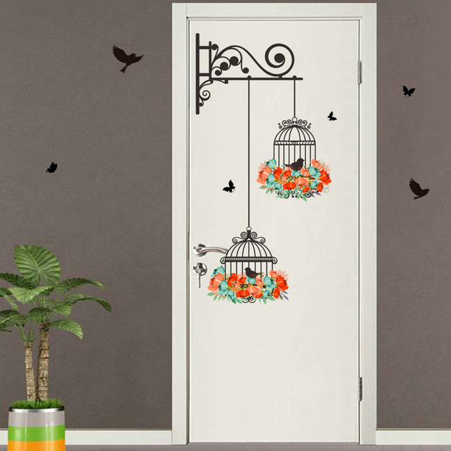 Black Birds Flower Birdcage Wall Art Decorative Wall Stickers For ...