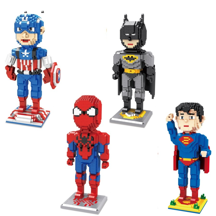 Magic building blocks Big size Super hero Cartoon Building toys Auction Figures Anime Superman Model Toys for Kids Cute Gifts hc big size super mario micro blocks stitch micro blocks diy building toys cute cartoon juguetes auction figures kids gifts 9003