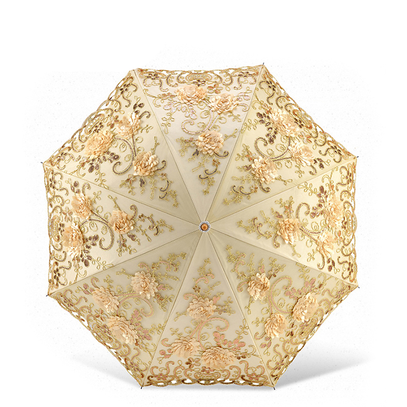 Lace Flower Folding Umbrellas For Women UV Protection Sun Rain Umbrella Embroider Pink Flower Print Pocket Princess Umbrella