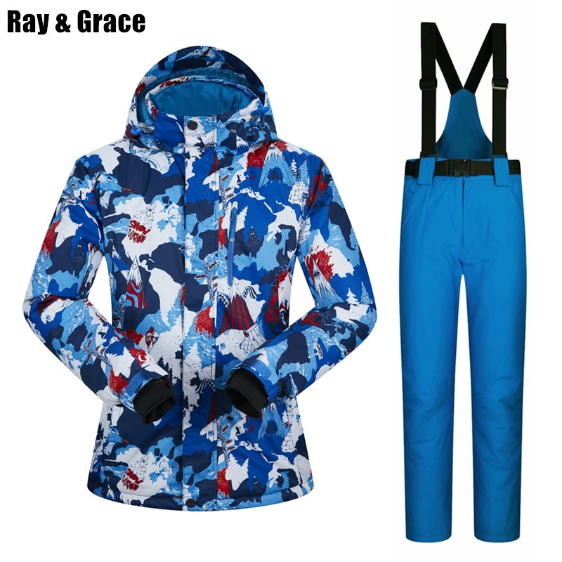 RAY GRACE Ski Suit Men Winter Outdoor Thermal Waterproof Windproof Snow Sports Jacket and Pants Male Snowboard Clothes Set 2018 new winter ski suit men snow skiing male clothes set outdoor thermal waterproof windproof snowboard jackets and pants