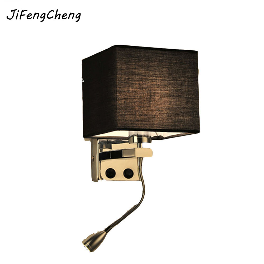 JiFengCheng Retro Modern Reading Creative Fabric Hotel Living Room Bedroom Aisle Balcony LED Bedside Lamp with Switch Wall Lamp modern creative 3d art oo aluminum led 6w wall lamp for living room bedroom aisle balcony ac 80 265v 1585
