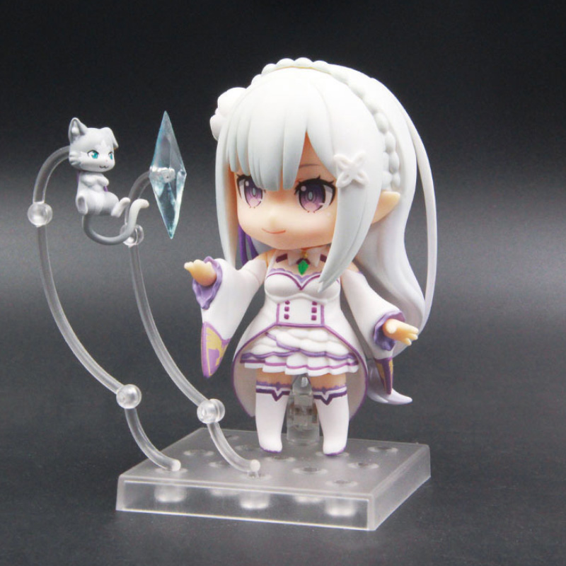 Emilia Re Zero Q Version Action Figure Re life In A Different World From Zero Toy Japanese Anime Figures Action Model Collection in Action Toy Figures from Toys Hobbies