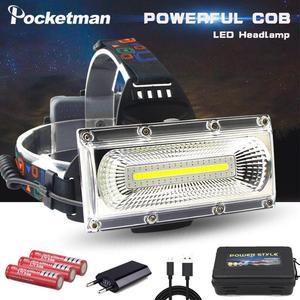 Image 1 - סופר מואר COB LED פנס תיקון אור ראש מנורת USB נטענת עמיד למים פנס 18650 סוללה דיג תאורה