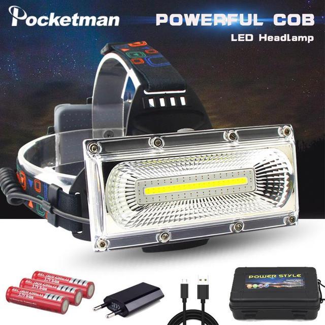 סופר מואר COB LED פנס תיקון אור ראש מנורת USB נטענת עמיד למים פנס 18650 סוללה דיג תאורה