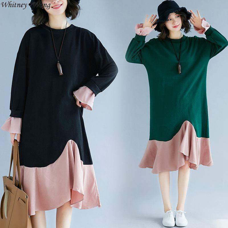 7fdf62074102 Contrasto Wang Abiti Di Donne Casual Colori Modo Delle Vestito Il A  Increspature Mermadi Del Molla verde Della Streetwear ...