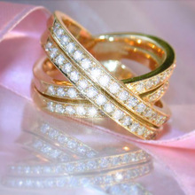 Huitan Luxury X Shaped Ring Golden Color Royal Wedding Band With Micro Paved Twist Jewelry Wholesale Lots&Bulk