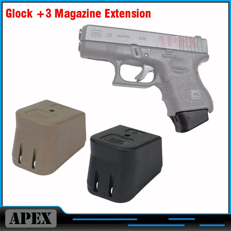 New glock plus 3 magazine base extension bottom glock + 3 매거진 확장 글록 17 19 26 22 23 27 black/tan 무료 배송