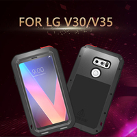 Aluminum Metal Cover For LG V30 Shockproof Full Body Heavy Duty Armor Case For LG V35 ThinQ Case coque With Gorilla Glass Cover