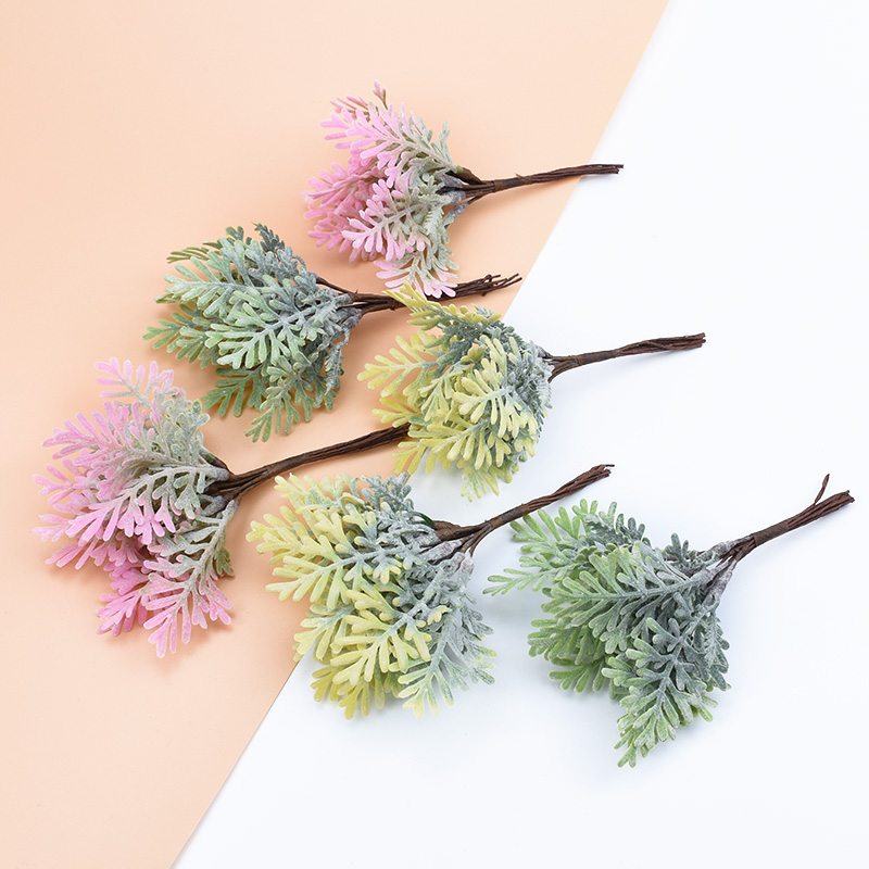 10pcs Artificial Plants Vases For Decoration Home Wedding Christmas Wreath Fake Grass DIY Gifts Box Bride Brooch Silk Flowers