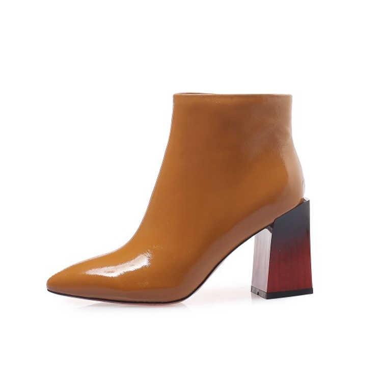 MLJUESE 2019 kadın yarım çizmeler yumuşak inek deri sonbahar bahar sarı renk sivri burun yüksek topuklu kadın botları