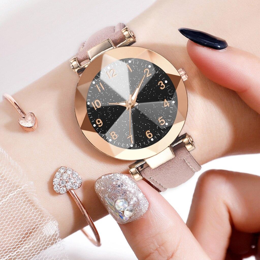 Luminous Watch Women Watches Ladies Casual Leather Women's Bracelet Watches Diamond Surface Clock Relogio Feminino Montre 2019