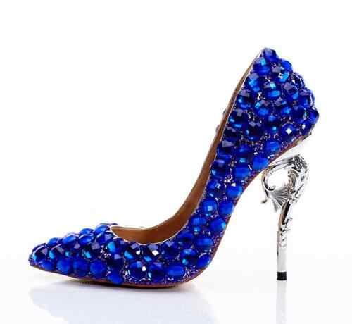 Blingbling King Blue Diamonds Woman High Heel Party Shoes Blue Wedding Diamonds High Heels Real Photo Custom Make Party Heels Aliexpress