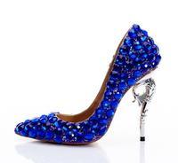 blingbling king blue diamonds woman high heel party shoes blue wedding diamonds high heels real photo custom make party heels