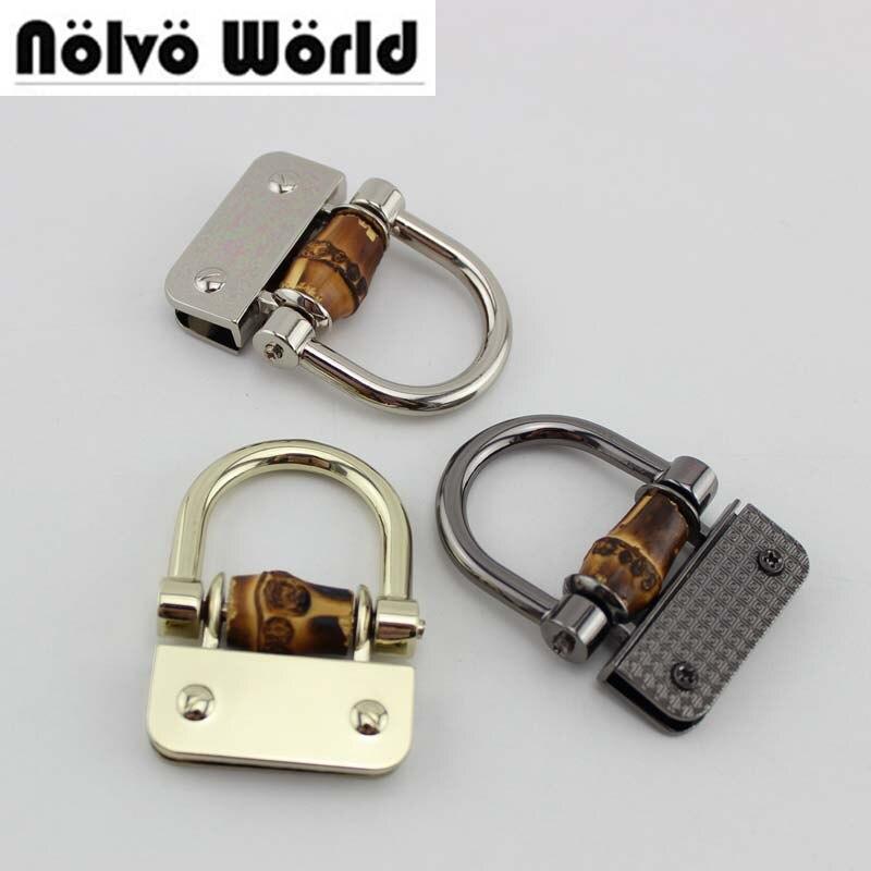 40pcs 5.5*3.8cm 4 Colors Accept Mix,Bamboo D Ring Ornament,handbag Handle Buckles,bamboo Metal Hardware For Purses Bags Closure