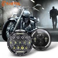 """Partol 7 """"moto phare LED 60W 75W feux de croisement feux diurnes DRL 6000K 12V 24V pour Harley FLD Touring Softail"""