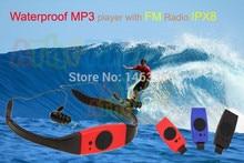 Submarino deporte música 4 GB de memoria Reproductor de MP3 radio FM cabeza usar MP 3 Jugadores swim Buceo surf deportes impermeable Estupendo IPX8