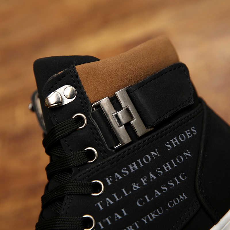 2019 homens quentes botas de moda inverno quente sapatos de couro outono calçados para o homem nova alta superior lona sapatos casuais