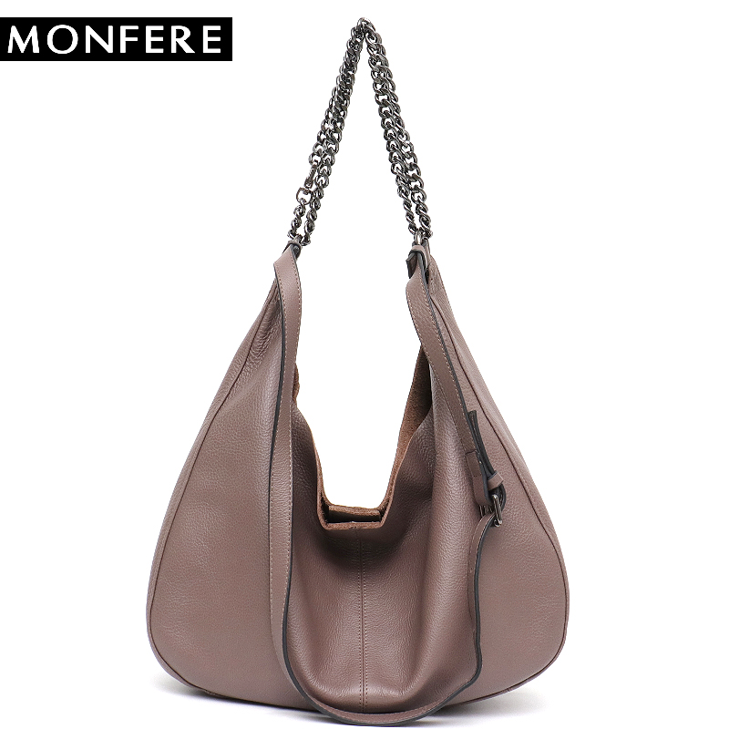 1cfed87720 MONFERE Luxury High Quality Women Leather Hobo Genuine Leather Shoulder Bags  for Ladies Large Soft Messenger