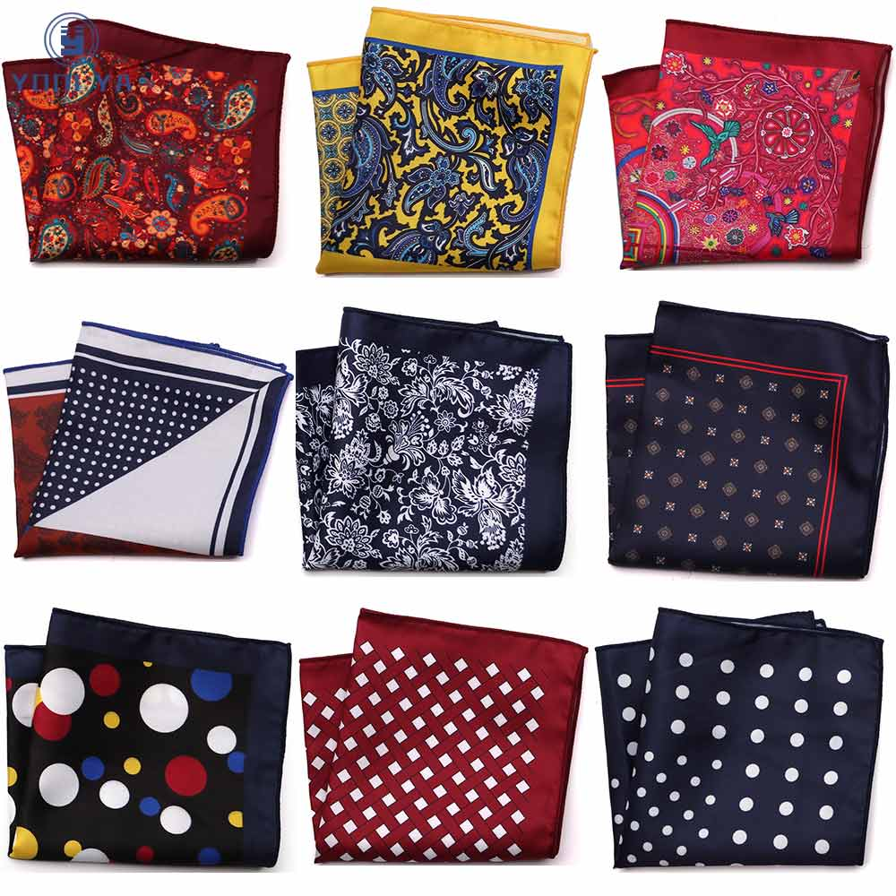 Luxury Polka Dot Floral Men Pocket Square Hanky Classic Wedding Party Handkerchief Soft Silk Vintage Hankies Chest Towel