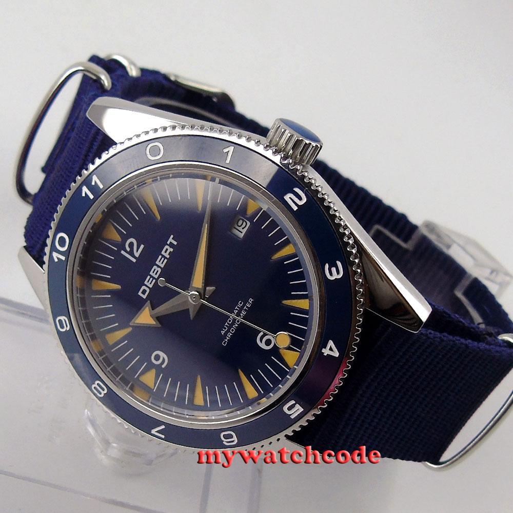 41mm debert blue dial sapphire glass 821A miyota Automatic mens wrist Watch D13B цена и фото