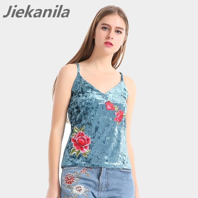 Jiekanila Elegante apliques De Veludo parte superior do tanque camisole Halter bustier V-pescoço Sem Encosto solto vest mulheres tops 2017 Moda streetwear