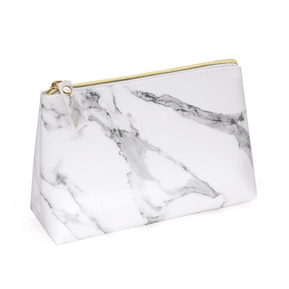 PU Leather Cosmetic Bag Make Up Marble Portable Ladies Travel Case Makeup Brushes Organizer Storage Pouch Toiletry Wash Kit Bags