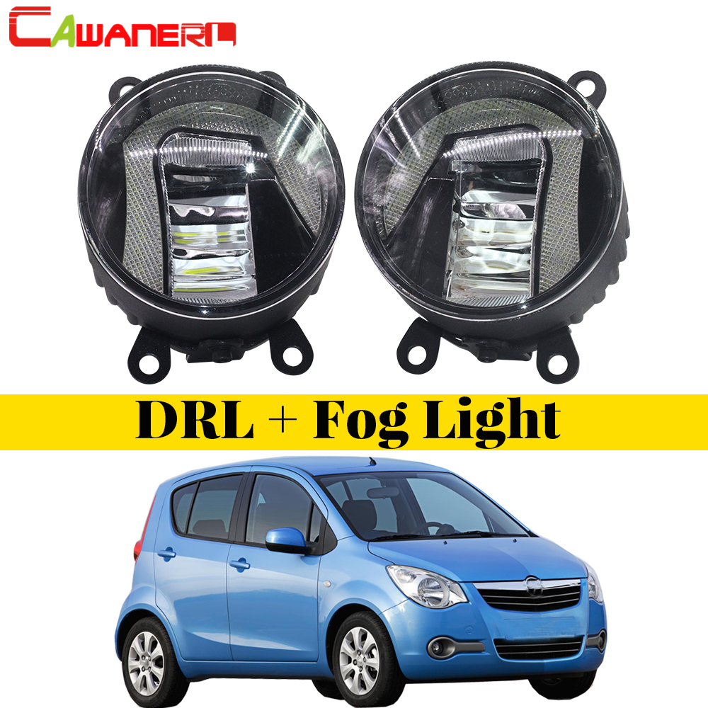 Cawanerl For Opel Agila (B) (H08) Hatchback 2008-2015 Car Styling 2in1 LED Fog Light + DRL Daytime Running Lamp White 2 Pieces cawanerl for toyota highlander 2008 2012 car styling left right fog light led drl daytime running lamp white 12v 2 pieces