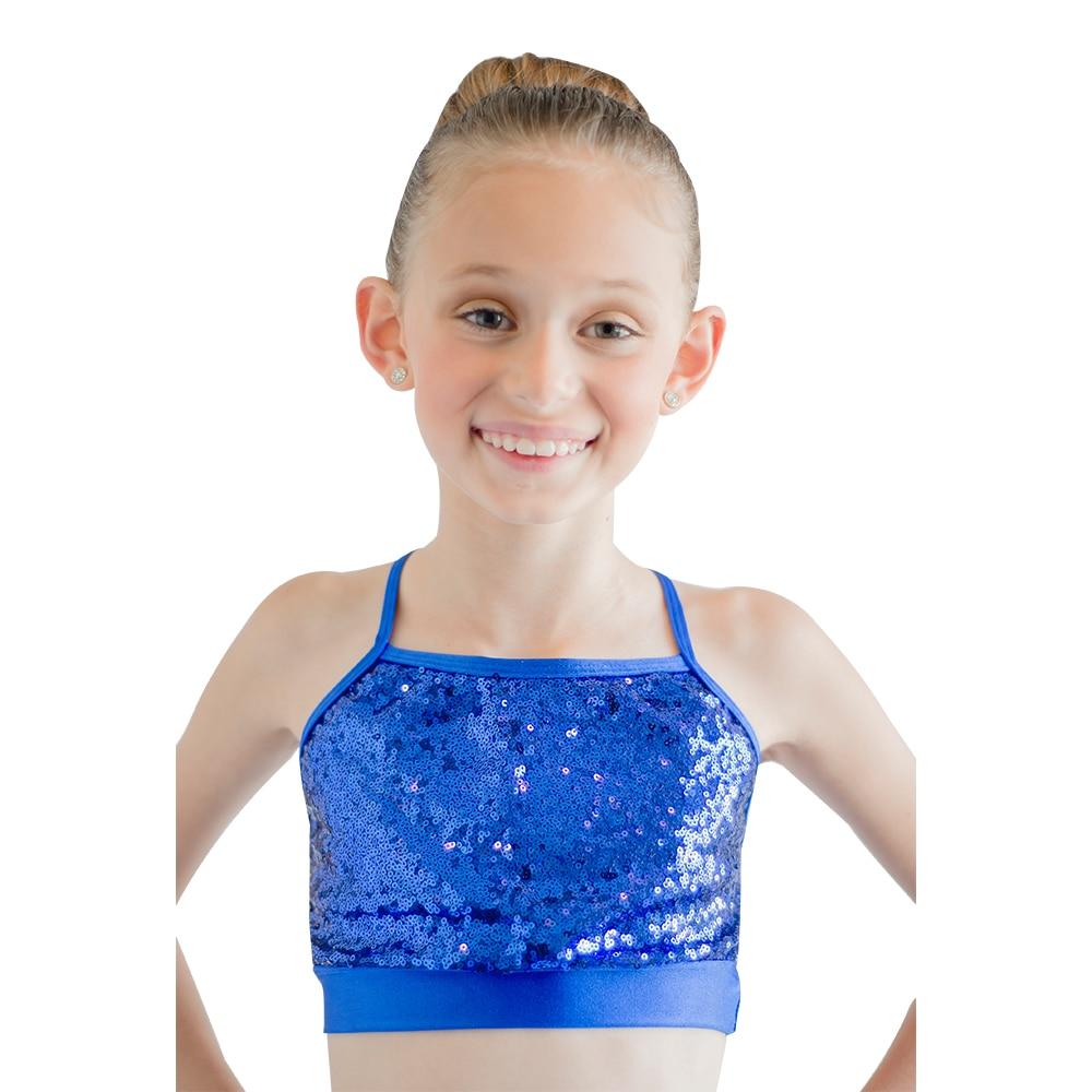 276e16fdc5 Retail River Blue Nylon Lycra Sequin Dance Tops Girls Cross-Back Dancing Top  Ladies Performance Costume