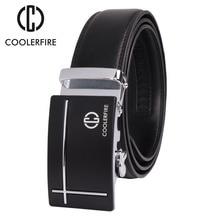 COOLERFIRE New Designer  Men belts Business Dress Genuine Luxury Leather Belts for Men,Strap Male Metal Automatic Buckle ZD059