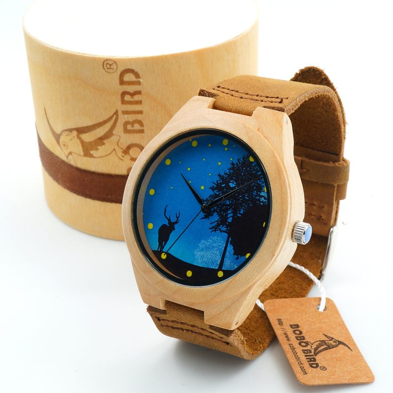 BOBO BIRD Pop Blue Dial Wood Watches Men's Top Design Genuine Band Bamboo Wooden Watches Women Casual Wrist Watch male Relogio bobo bird wh11 brand design bamboo wooden watches for women men wood dial quartz watch leather grain band in wood box gift oem