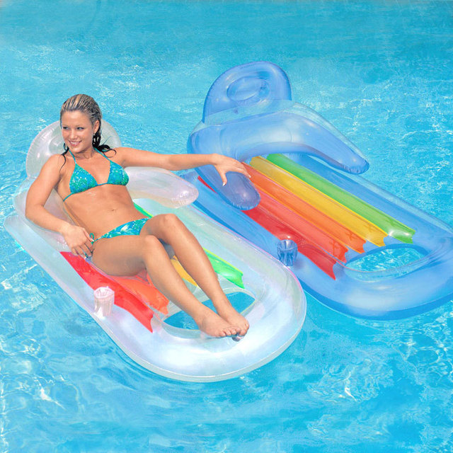Inflatable Lounge Chair Hammock Sea Bed Pool Float Swimming Circle Air Mattress Water Toys For Child Kids Beach Party