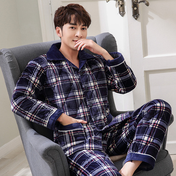 New Arrival Fashion Plaid Quilted Pajama Sets Soft Men Sleepwear Winter Lounge Set Three Layer Coral Fleece Thick Quilted Jacket фото
