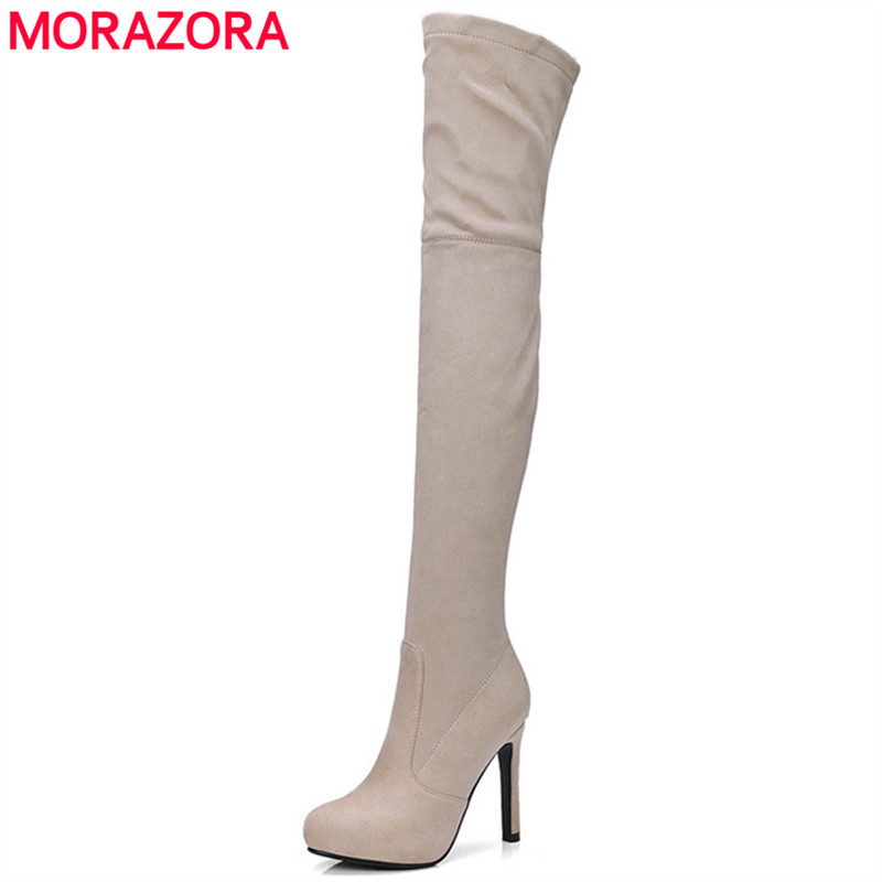 MORAZORA Plus size 34-43 spuer heels shoes woman over the knee boots stretch flock solid zipper womens boots 4 colors fashion