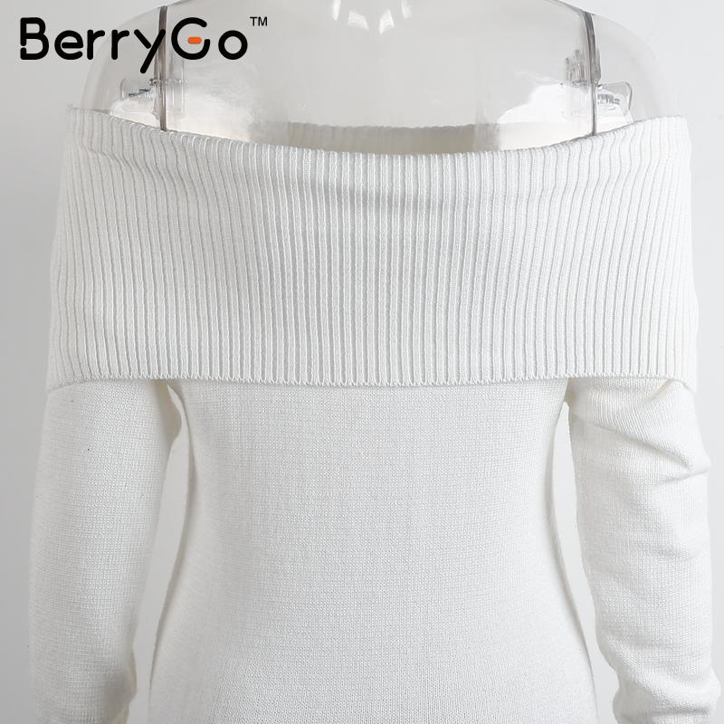 13867f815dc BerryGo Autumn winter off shoulder knitted bodycon dress Women sexy long  sleeve party dress 2018 short