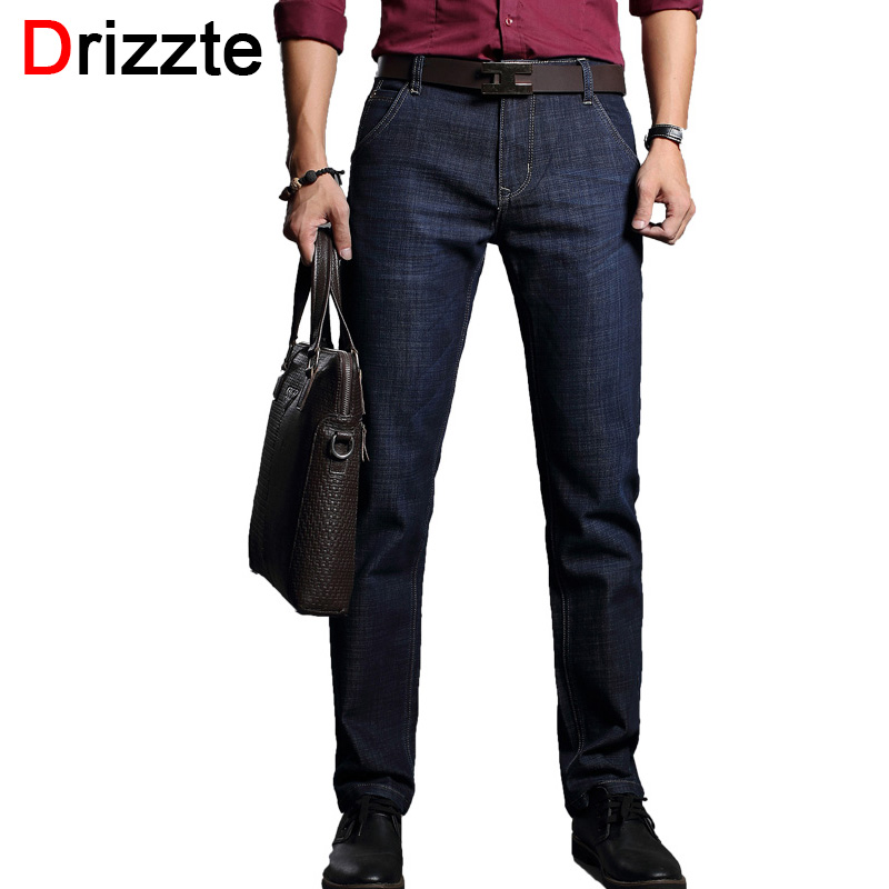Drizzte Men's Jeans Dark Blue Denim Business Slim Fit Dress Jeans Size 30 32 34 35 36 38 Pants Jean for Men drizzte men s jeans classic stretch blue denim business dress straight slim jeans size 34 35 36 38 pants trousers jean for men